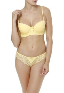 Conjunto De Lingerie Feminino - Feminino-Amarelo