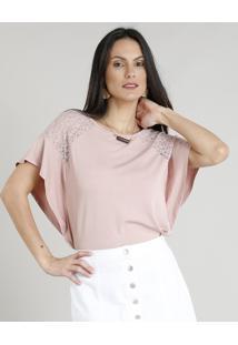 e38899531e ... Blusa Feminina Com Renda Manga Curta Decote Redondo Rosê