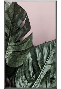 Quadro Decorativo Folhas- Rosa Claro & Verde Escuro-Arte Prã³Pria