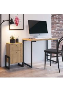 Conjunto Escrivaninha Porto E Criado Mudo Wolli Siena Móveis Natural