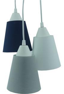 Lustre Pendente Luminária Cacho Tecidos Cinza, Azul Marinho E Branco