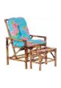 Conjunto Mesa E Cadeira De Bambu Cancun Para Área Edicula Jardim G11