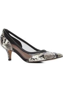 Scarpin Couro Shoestock Salto Baixo Bico Fino Cobra Telado - Feminino-Off White+Preto