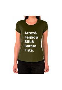 Camiseta Feminina Algodão Arroz Feijão Bife Dia A Dia Verde Militar