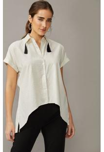 Amaro Feminino Camisa Manga Curta Com Tassel, Off-White