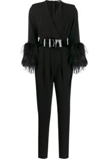 P.A.R.O.S.H. Belted Slim-Fit Jumpsuit - Preto