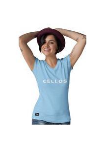 Camiseta Feminina Gola V Cellos Classic I Premium W Azul Claro