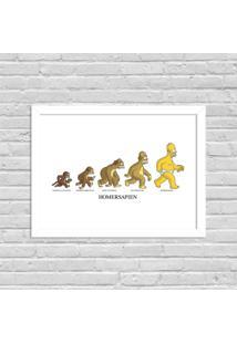 Quadro Decorativo Evolução Homem Simpson Branco - Grande