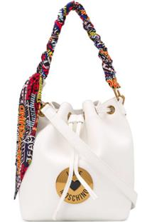 Love Moschino Bolsa Bucket Com Placa De Logo - Branco