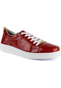 Tênis Básico Sapatofran Envernizado Confortável Feminino - Feminino-Vermelho