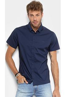 Camisa Colcci Slim Masculina - Masculino-Azul