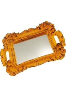 Bandeja Espelhada Mini Decorativa Amarela Fosca 2X22X14Cm