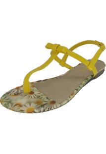 Rasteira Dalid Flat Amarelo Estampa