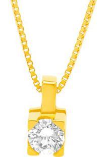 Pingente Solitário Ouro Amarelo E 10 Pontos De Diamantes