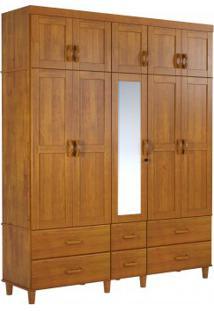 Guarda Roupa Tripartido Finestra Ecco 10 Portas E 06 Gavetas C/01 Espelho Teca
