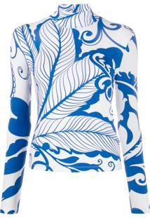 La Doublej Blusa Marea Blu Gola Alta Com Estampa - Azul