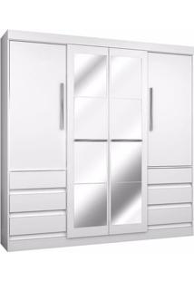 Guarda-Roupa Casal 4 Portas Bater 1577 6 Gavetas Branco Araplac Mdf,Mdp Espelho