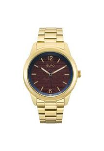 Relógio Euro Feminino Texturas Dourado Analógico Eu2033Am4R