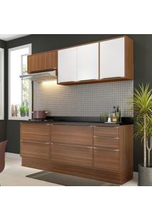 Cozinha Compacta 7 Portas Com Tampo E Rodapé 5459R Nogueira/Branco - Multimóveis