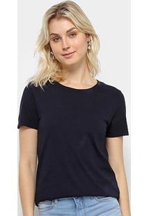 Camiseta T-Shirt Calvin Klein Basic Feminina - Feminino-Marinho