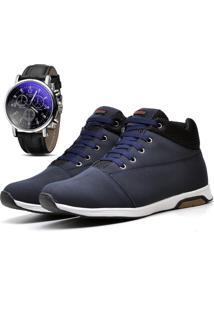 Sapatênis Tênis Cano Médio Casual Com Relógio Juilli Social 1101L Azul