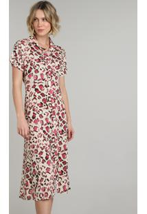 Vestido Chemise Feminino Longo Estampado Floral Manga Curta Off White