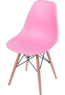 Cadeira Eames Polipropileno Rosa Pink Base Madeira - 36753 Sun House