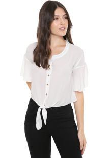 Camisa Cropped Triton Amarração Off-White
