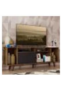 Rack Para Tv Até 65 Polegadas Madesa Cancun Com Pés - Rustic/Rustic/Preto