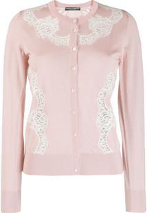 Dolce & Gabbana Cardigan Com Aplicação De Renda - Rosa