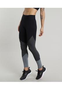 Calça Legging Feminina Esportiva Ace Com Recortes Preta
