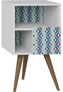 Criado Mudo 1 Porta Retrô Be Mobiliário Branco/Estampa Azul