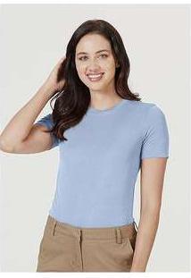 Blusa Básica Feminina Em Malha De Modal E Elastano Azul