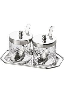 Conjunto 2 Pote De Geleia Em Vidro Com Bandeja 2080 Lyor Classic