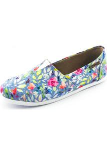 Alpargata Quality Shoes Floral Feminina - Feminino-Azul