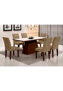 Conjunto De Mesa De Jantar Luna Com Vidro E 6 Cadeiras Grécia Castor Branco Com Animalle Chocolate