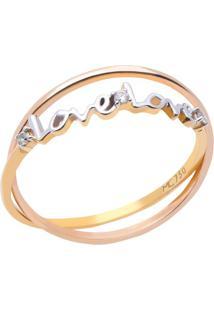 Anel Em Ouro Amarelo E Vermelho 18K Com Diamante - Hit Diamante 19