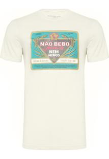 Camiseta Masculina Estampada Não Bebo Mais - Off White
