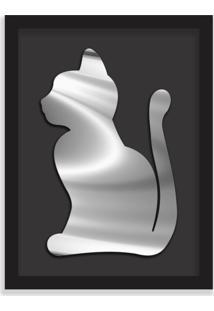 Quadro Decorativo Em Relevo Espelhado Gato Prateado Preto - Grande