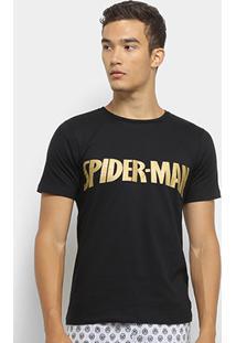 5aa09b1163650e Pijama Evanilda Spider Man Curto Masculino - Masculino-Preto