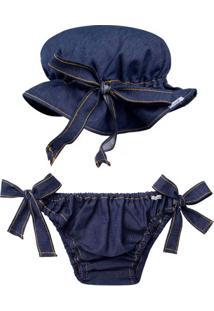 Conjunto De Banho Denim: Bumbum + Faixa De Cabelo - Roana 00342034493 Banho De Sol Fem Jeans -P