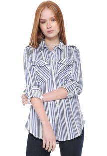 Camisa Calvin Klein Jeans Reta Listras Branca/Azul