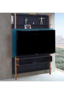 Painel Karl Para Tv Até 60 Polegadas Preto/Azul Agatha - Woodinn