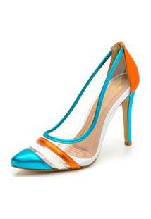 Sapato Scarpin Salto Alto Fino Em Azul Metalizado E Branco E Laranja Metalizado