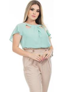 Blusa Clara Arruda Decote Detalhe 20612 Feminina - Feminino-Verde