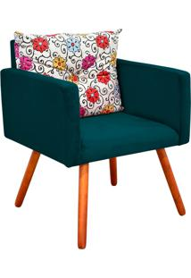 Poltrona Decorativa Bella Composê Estampado Floral Color D17 Com Suede Azul Pavão - D'Rossi