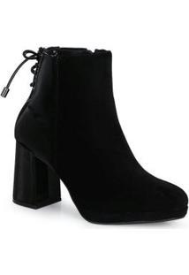 Ankle Boots Feminina Nobuck Preto Preto