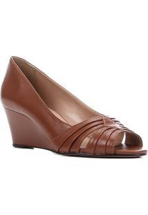 Peep Toe Couro Shoestock Anabela Drapeado Salto Médio