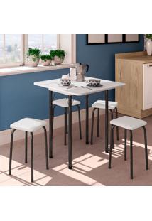 Conjunto De Mesa De Cozinha Dobrável Com 4 Lugares Asti Corino Branco