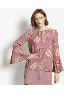Blusa Com Recorte Plissado- Rosa Escuro & Rosãªenna
